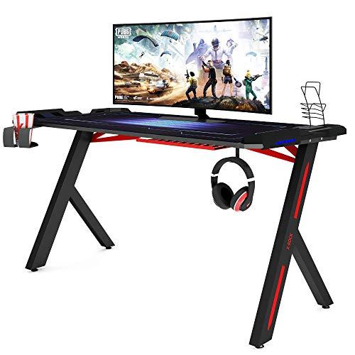 Piushopping X-Rock Scrivania Gaming Desk con LED Ergonomica, per PC e Ufficio Completa di Accessori - 120x61x73cm