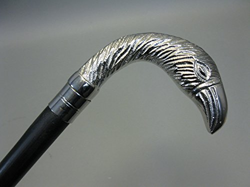 Bois Canne Canne Bâton de marche 91 cm avec poignée en métal argenté Aigle M50 Walking Clé