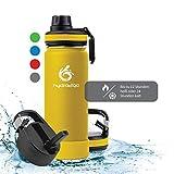 hydro2go ® Trinkflasche aus Edelstahl 500 ml / 0.5 Liter - für Kinder, Schule, Sport, Fitness & Outdoor | Thermo Edelstahlflasche BPA-frei + 3 Trinkverschlüsse | 100% Auslaufsichere Thermoskanne