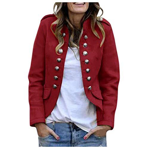 Damen Blazer Elegant Langarm Anzugjacke Mantel mit Knopfleiste und Tasche Military Blazer Lang Blazer Slim Fit Blazer Freizeit Stehkragen Business Büro Anzug Jacken