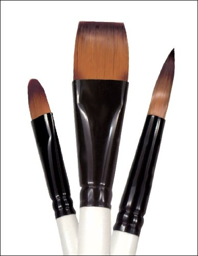 Robert Simmons Simply Simmons Watercolor & Acrylic Short-Handle Brushes 3/4 in. round mop natural black goat