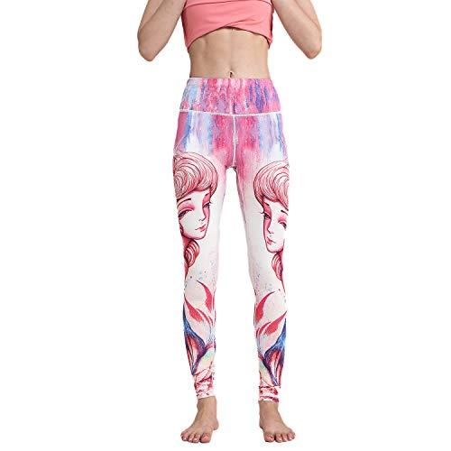 HAPYWER Leggings de yoga para mujer, cintura alta, para gimnasio, deportes, yoga, correr, entrenamiento, mallas de compresión, elásticas, con estampado impreso