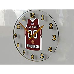 FanPlastic College Basketball USA - We're Number ONE College Hoops Wall Clocks - Support Your Team !!! (Wisconsin Badgers)