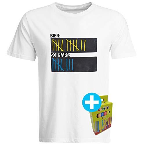 T-Shirt mit Tafelfläche inkl. Kreide Bier Schnaps Strichliste Alkohol Kurze Tafel Malle Mallorca Saufen Party Eskalation (Weiß, M)