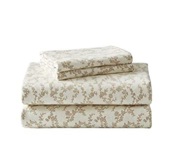 Laura Ashley Home - Flannel Collection - Sheet Set - 100% Cotton Ultra-Soft Brushed Flannel Pre-Shrunk & Anti-Pill Machine Washable Easy Care Queen Victoria