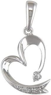10K White Gold Heart Diamond Pendant with Free 18