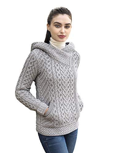 Aran Crafts Damen Kapuzenpullover mit Zopfmuster, bequem, seitlicher Reißverschluss, 100 % Merinowolle -  Grau -  Mittel