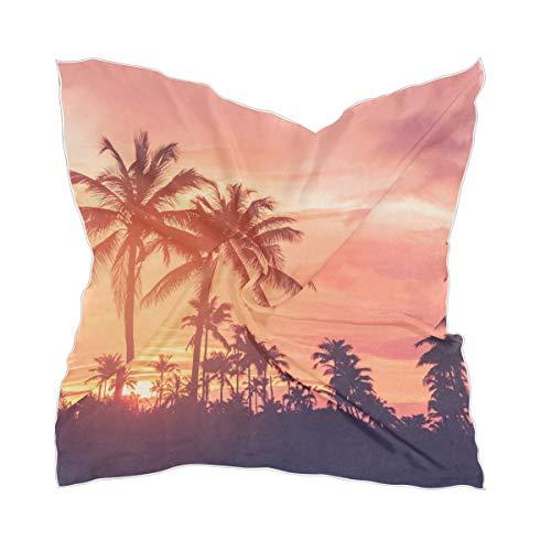 Transparante halsdoek zijden sjaal dunne hoofddeksel halsdoek Sunset Tropical Forest Chiffon