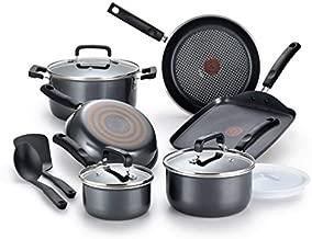 T-fal Signature Titanium Nonstick 12 Piece Cookware Set, Grey, B061SC, Black