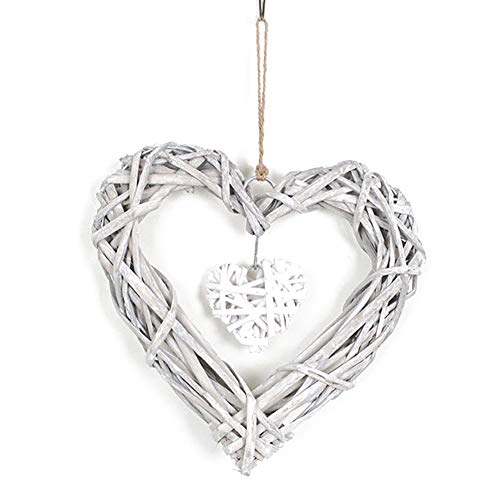 ReTink Pretty Double Heart Wedding Resin Wicker Wall Hanging Decor Ornament Party Gift Wedding Christmas Home Party