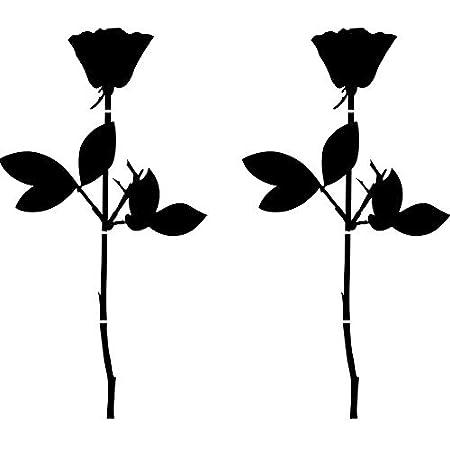 Greenit Rose 20cm Auto Fenster Spiegel Aufkleber Tattoo Die Cut Decals Vinyl Selbstklebende Deko Folie Depeche Mode 2 Stück Schwarz Auto