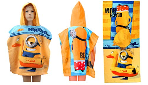 Badetuch-Cape, Badeponcho aus Frottee, Motiv: Minions