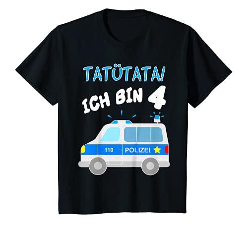 Kinder Tatütata Polizeiauto T-Shirt 4. Geburtstag Polizist