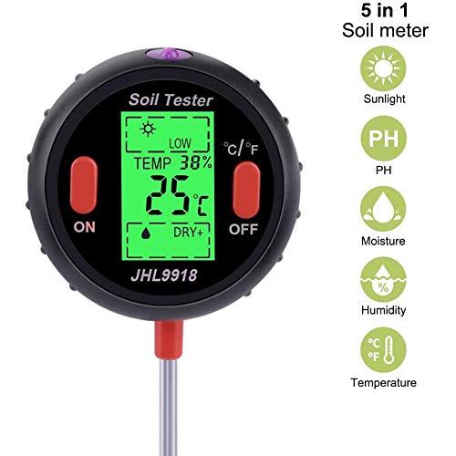 Duradera Probadores de la Tierra 5 en 1 Medidor de Ph Digital del Suelo Agua Monitor de Humedad Temperatura Humedad Análisis Luz del Sol Probador Para la Jardinería Plantas Agricultura Conveniente