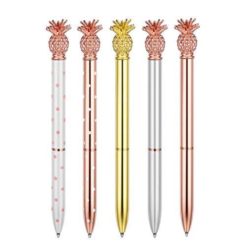 Herisa 5 Pcs Pineapple Pens,Metal Ballpoint Pen - Beatiful Bling Cute Ballpoint,Rose Gold/Silver/White/Gold,Office Supplies and School Desk Accessories,Medium Point,1.0mm,Black Ink,5 Extra Refills