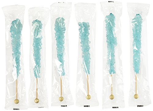 Light Blue Rock Candy Crystal Sticks - 24 Pack - Cotton Candy Flavored - How to Build a Candy Buffet Table Guide Included - Great for Frozen Movie, Elsa Parties, or Boys Birthday Parties
