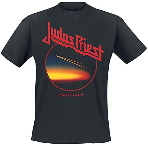 Judas Priest Point of Entry Anniversary Hombre Camiseta Negro L, 100% algodón, Regular