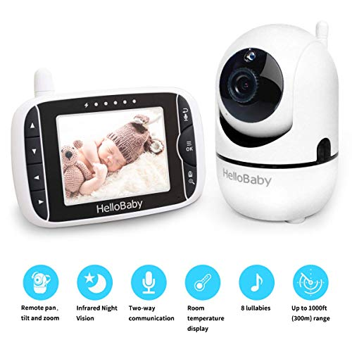 Baby Monitor with Remote Pan-Tilt-Zoom Camera and 3.2'' LCD Screen, Infrared Night Vision (White with Black)