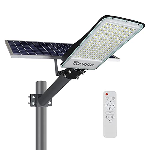 Solar Street Lights Outdoor, 300W LED Dusk to Dawn Security Flood Light Motion Sensor with Remote Control Dual Color Switchable & RGB for Yard, Garden, Street, Basketball Court,Parking Lot.