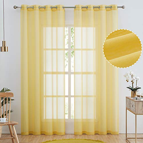 Semi Linen Look Sheer Curtains for Bedroom, Living Room Grommet Light Filtering Solid Voile Window Curtains, Set of 2 Panels (52 x 84 inch, Yellow)