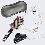 Cepillo alisador de pelo de jabalí – Kit de 1 pinza y neceser para cabello largo, fino, corto, corto, metalico, rizado o liso – dorado