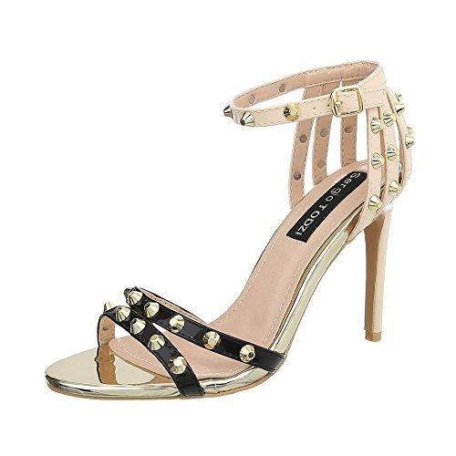 Ital-Design High Heel Sandaletten Damen-Schuhe Pfennig-/Stilettoabsatz Heels Schnalle Sandalen & Schwarz Beige, Gr 39, Aj-555-