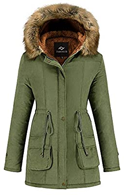 Farvalue Women's Winter Coat Hooded Warm Puffer Quilted Thicken Parka Jacket with Fur Trim