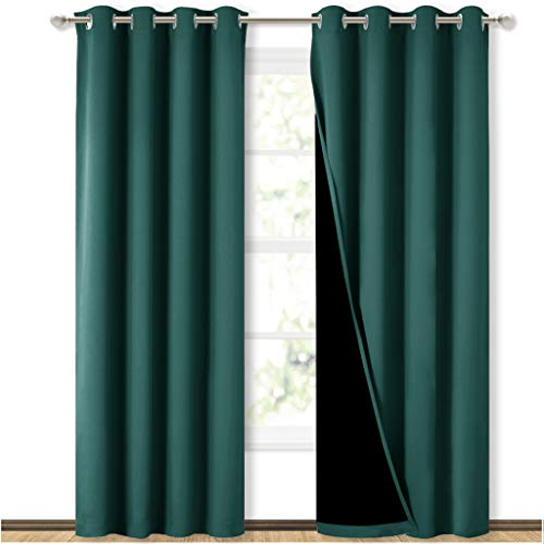 NICETOWN 100% Blackout Curtain Set, Thermal Insulated & Energy Efficiency Window Draperies for Guest Room, Full Shading Panels for Shift Worker and Light Sleepers, Hunter Green, 52W x 84L, 2 PCs