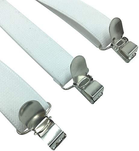 LOLELAI Suspenders for Women and Men | Elastic, Adjustable, Y-Back | Pant Clips, Tuxedo Braces (1, White)