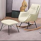 Sillón de balancín, silla de ocio y reposo tejido para el salón comedor patas de madera metálica 85 x 74 x 68 cm pequeños muebles de casa para adultos carga de soporte 300 kg