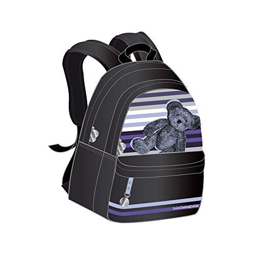 Lulu Castagnette–Mochila 2compartimentos Vernis negro oso púrpura