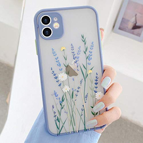 Clear Flowers Silicone Teléfono Funda para iPhone 11 Pro MAX XR X XS 8 7 Plus 6 6S SE iPhone 12 Mini 12 12 Pro 12 Pro MAX Transpire Matte Floral Slim,Lavandar,para iPhone 6s Plus
