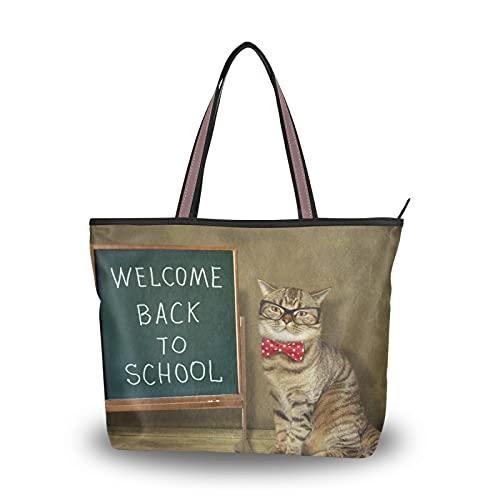NaiiaN Bolsos de mano Monedero de compras The Cat Teacher con gafas y pajarita para madres, mujeres, niñas, señoras, estudiantes, bolso de mano, bolsos de hombro, correa liviana