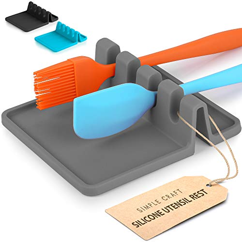 Simple Craft Silicone Spoon Rest with Drip Pad - 4 Slotted Spoon Rest For Kitchen Utensils Tongs Ladles - Heat Resistant Spoon Holder For Stove Top Countertops Tables Gray