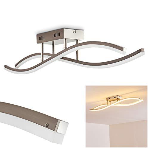 LED Deckenleuchte Atina, längliche Deckenlampe aus Metall in Nickel-matt in Wellenform mit geschwungenen Lichtleisten, 26,5 Watt, 2300 Lumen, Lichtfarbe 3000 Kelvin (warmweiß)