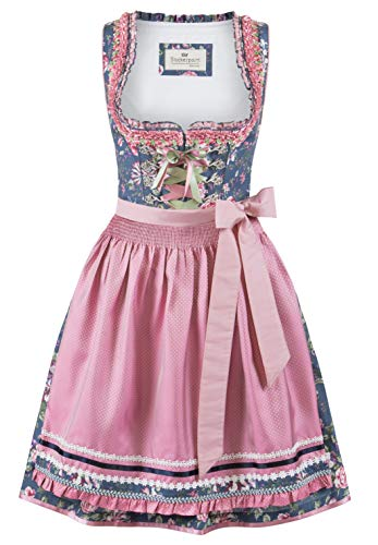 Stockerpoint Damen Dirndl Bruna Kleid für besondere Anlässe, blau-Rose, 34