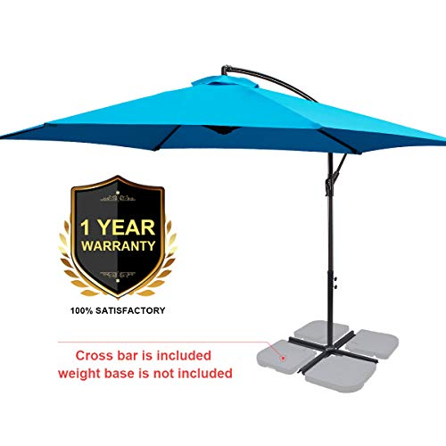 FRUITEAM Offset Patio Umbrella 10FT, Cantilever Hanging Umbrellas, Outdoor Patio Garden Umbrellas Market Umbrella with Crank & Cross Base, Waterproof UV Protection UPF50+, Sky Blue