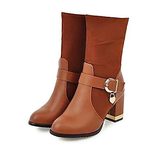 Vrouwen s Synthetics herfst & winter Vintage/Minimalisme laarzen dikke hak ronde teen halverwege kalf laarzen zwart/geel/Bourgondië