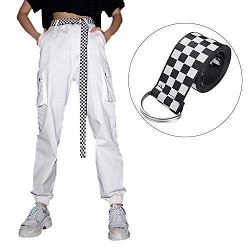 Cintura da Donna Cintura in Tela Cintura a Scacchi Cintura a Quadri Bianca Nera Cintura a Scacchi Cintura per Ragazze, 135 cm