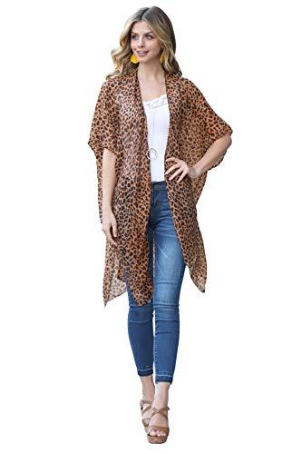 Exotic Animal Print Sheer Light Swimsuit Bikini Cover Up Shawl - Kaftan Open Kimono Cardigan, Drape Long Vest Leopard Tiger Cheetah (Kimono Cardi - Leopard Light Brown)