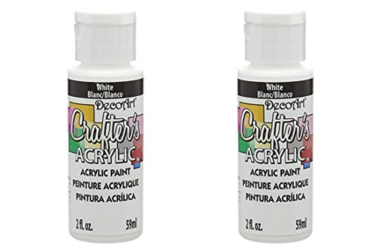 DecoArt Crafter's Acrylic Paint, 2-Ounce, White (2 Pack)