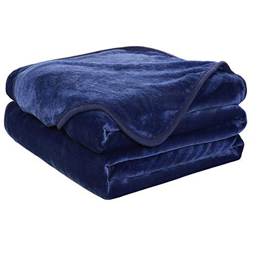 EASELAND Soft Queen Size Blanket Warm Fuzzy Microplush Lightweight Thermal Fleece Blankets for Couch Bed Sofa,90x90 Inches,Dark Blue