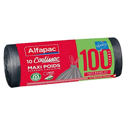 ALFAPAC - 10 sacs 100L à liens coulissants - Sacs-Poubelle Maxi-Poids - Éco-responsables : mélange de matière recyclée et d'origine végétale - Fabriqué en France