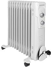 Clatronic RA 3737 11 rib-olieradiator, mobiele radiator tot 2300 watt, warmteregeling via traploze thermostaatregelaar, flexibel gebruik door 4 lichtlopende wielen, slimline-constructie, wit