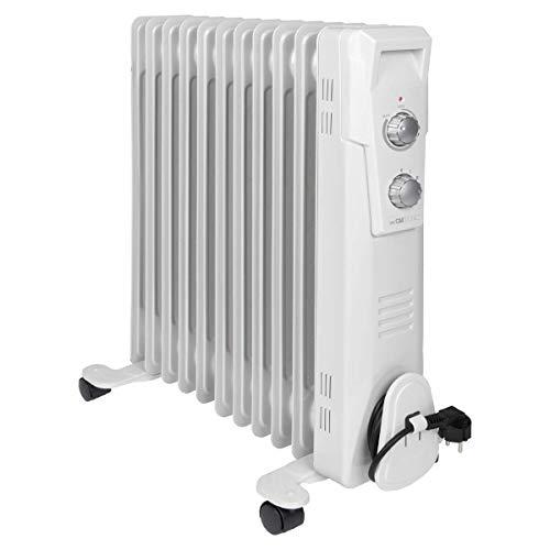 Clatronic RA 3737 11 Rippen-Ölradiator, mobiler Heizkörper bis 2300 Watt, Wärmeregulierung über stufenlosen Thermostatregler, Flexibler Einsatz durch 4 Leichtlaufrollen, Slimline-Bauweise, weiß