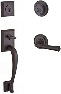 Schlage Camelot Single Cylinder Handleset And Georgian Knob Aged Bronze F60 V Cam 716 Geo Door Handles