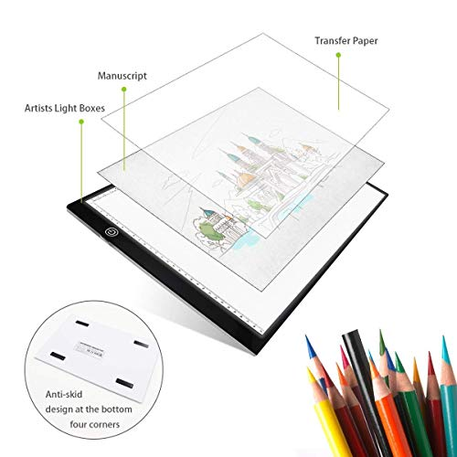 UKON A4 LED Light Box Drawing Light Pad Art Tracing Xray Light Board for Tracer Kids Artists Diamond Painting with Dimmable Brightness for Embroidery Sketching Animation Stenciling (Old Version)