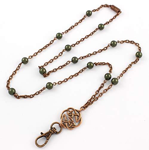 Brenda Elaine Jewelry Non-Tarnishing Women's Fashion Lanyard Necklace ID Badge Holder, 32 Inch Copper Chain with Celtic Pendant, Dark Green Pearls & Rear Break Away Clasp