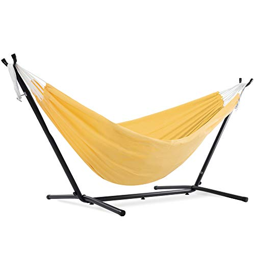 Vivere Double Polyester Hammock with 9ft Space Saving Steel Stand (450 lb...