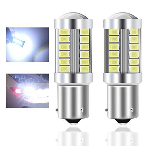 Teguangmei 1156 BAU15S PY21W 7507 Lampadine LED per Auto Bianca 900LM Super Luminosi 5730 33-SMD LED Freno di Retromarcia Coda Stop Fendinebbia Posteriore Luce di Posizione 12-30V 3.6W- 2Pcs